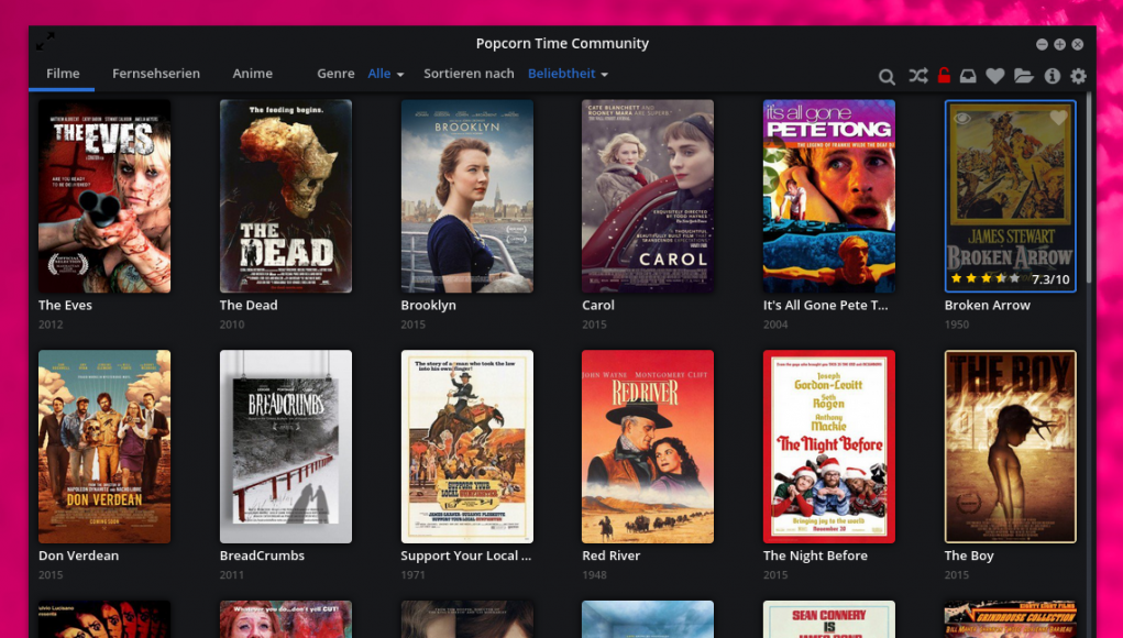 Popcorn Time Video-Streaming Linux