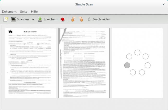 Mit Simple-Scan scannt man sehr schnell seine Zeugnisse und andere Bewerbungsunterlagen ein.
