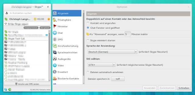 Skype passt sich nun auch unter einem 64-Bit Linux dem Desktop-Theme an.