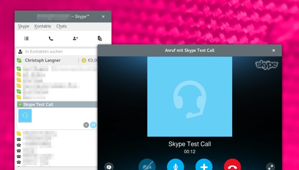 Testcall unter Skype für Linux