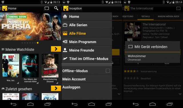 Auch Watchever kann nun Videos per Chromecast auf den Fernseher beamen.