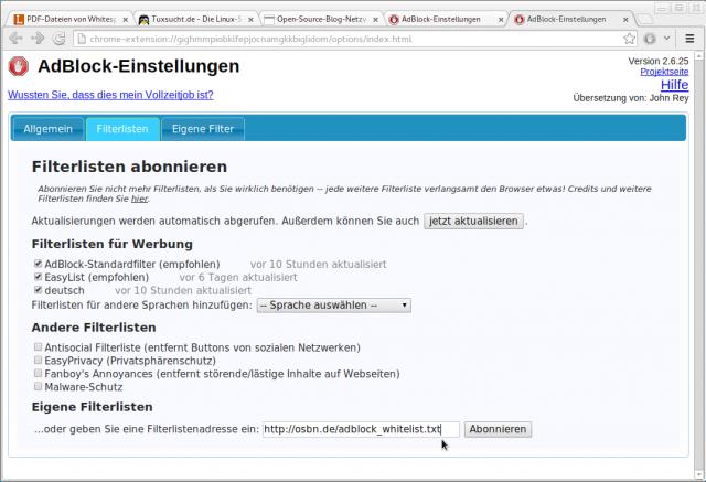Auch hier lässt sich die OSBN-Whitelist zum Unterstützen von Linux-Bloggern nutzen.