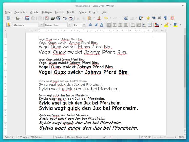 Comic Neue in LibreOffice unter Arch Linux.