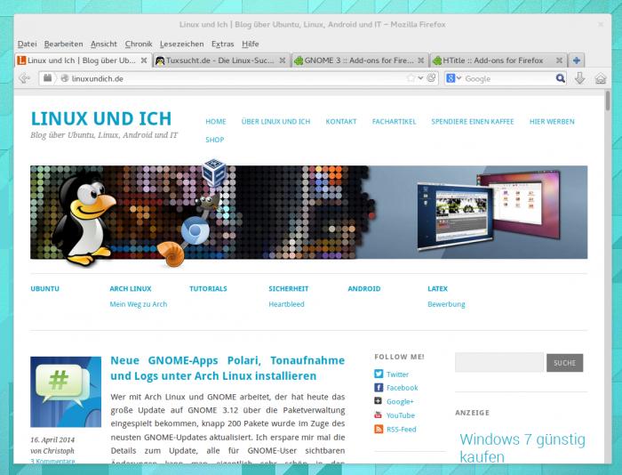 Firefox unter GNOME in der Standardkonfiguration.