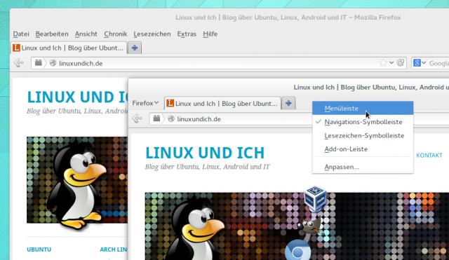 Das Menü des Firefox-Browsers lässt sich zu einem einzigen Menüpunkt zusammenstauchen.