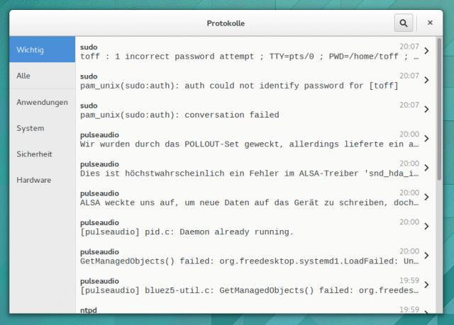 Logs zeigt die Logdaten von systemd unter GNOME an.
