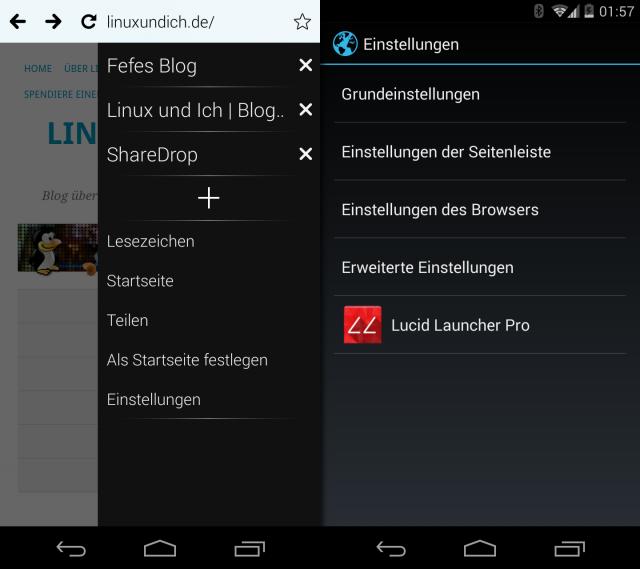 Tabs werden nicht als Reiter über der App ausgewählt, sondern als Eintrag in der Seitenleiste aufgerufen.
