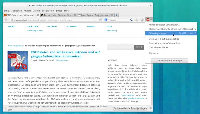 Die OSBN-Whitelist erlaubt Anzeigen in einer Reihe von Linux- und Open-Source-Blogs.
