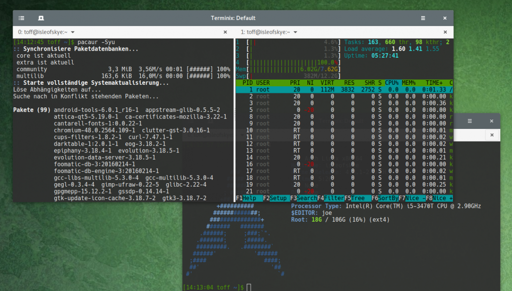 how to update firmware arch linux pacman
