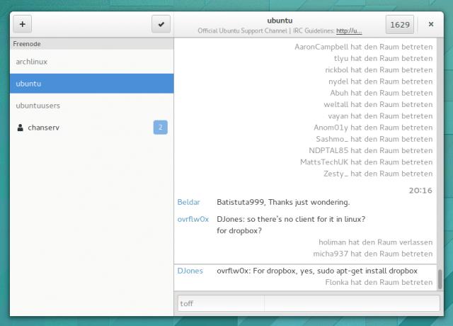 Polari soll eines Tages ein ausgewachsener IRC-Client werden.
