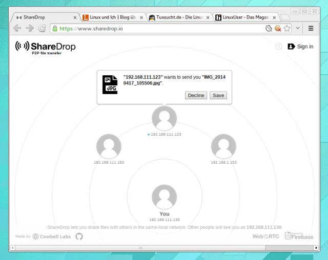 Alle Rechner und Handys mit geöffneter ShareDrop-Seite erscheinen automatisch auf dem Radar.