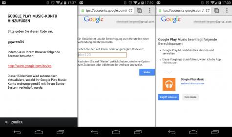 Der Zugriff auf den eigenen Google-Account muss über die Sonos-App freigegeben werden.