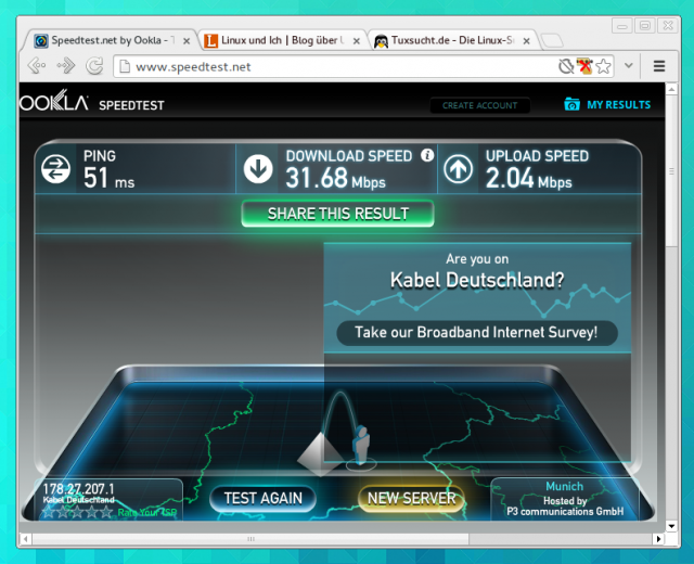 Mit Speedtest.net lässt sich die Leistung der eigenen Internetverbindung testen.