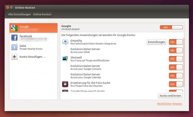 Google, Facebook, Twitter und Co. lassen sich direkt in Ubuntu integrieren.