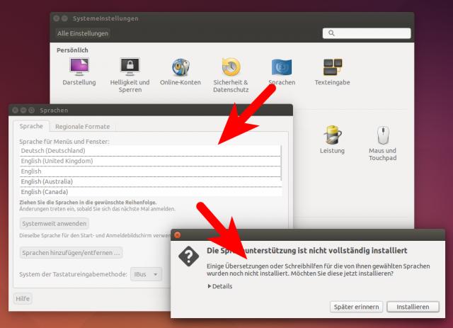 Nach der Installation ist Ubuntu noch nicht komplett auf Deutsch übersetzt.