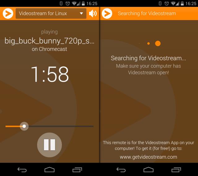 Mit der Videostream-App lässt sich die Wiedergabe vom Handy aus steuern.