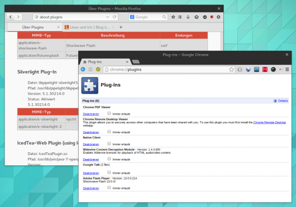 Firefox führt im Gegensatz zu Chrome das Pipelight-Plugin noch auf.