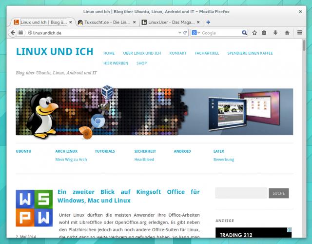 Firefox 29 mit dem neuen Australis-Design unter Gnome 3.