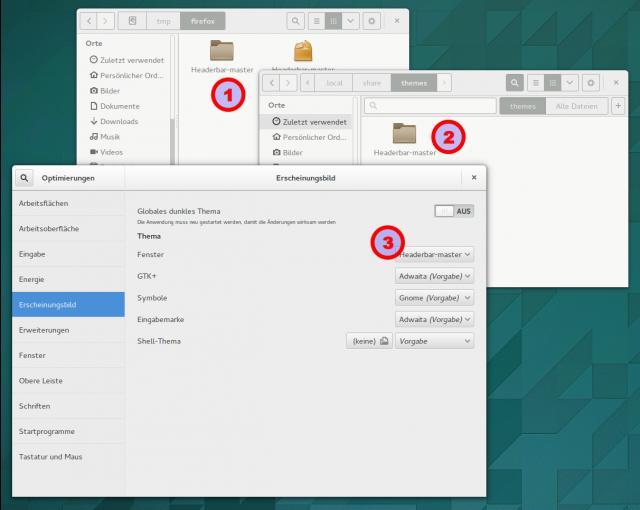 Für die Integration der Adressleiste in Kopfleiste des Fensters muss ein angepasstes Fenstertheme für Gnome installiert werden.