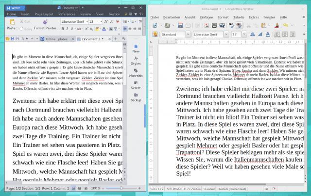Die Schriftdarstellung von LibreOffice und Kingsoft Office im Vergleich.