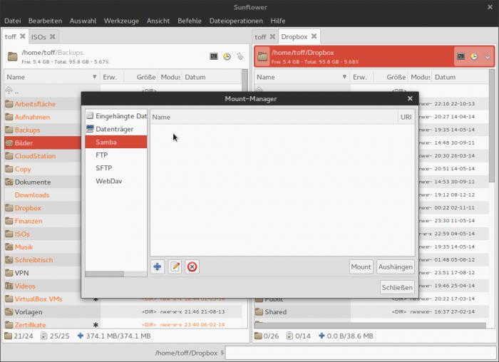 Für das Einbinden von externen Laufwerken und Netzwerkfreigaben gibt es einen Mount-Manager.