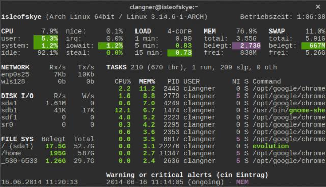 Glances zeigt Systeminformationen des Linux-Rechners übersichtlich an.