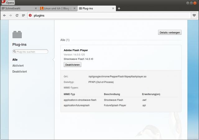 Opera holt sich ein aktuelles Pepper-Flash aus dem auf dem Rechner installierten Chrome-Browser.