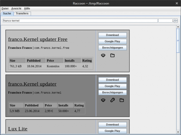 Raccoon erlaubt nun auch den Download von kostenpflichtigen Apps aus dem Play Store.