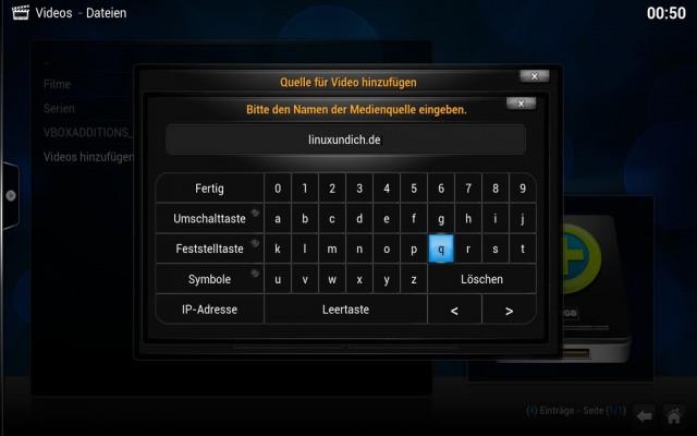 Mit Hilfe einer virtuellen Tastatur lässt sich XBMC auch per Touch bedienen.