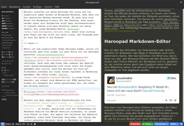 Haroopad bietet zahlreiche verschiedene Themes für das Editorfeld und die Live-Ansicht an.