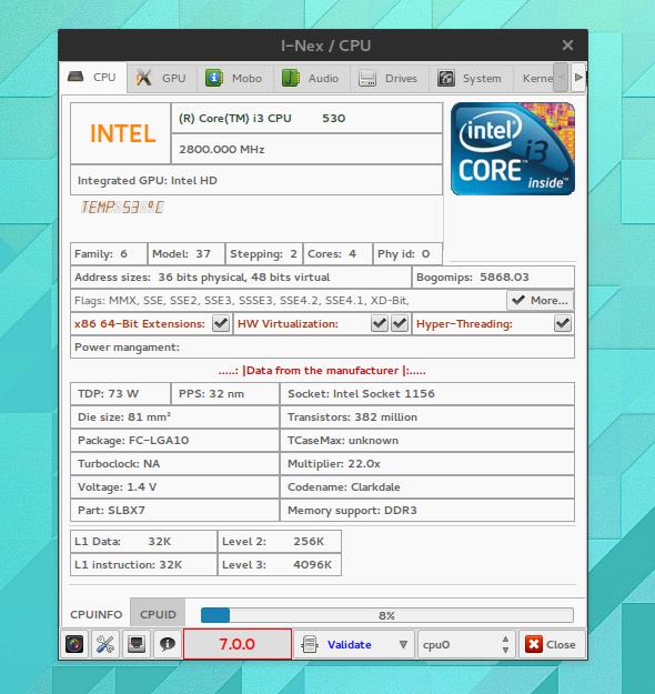I-Nex ist eine Linux-Alternative für Tools wie CPU-Z.