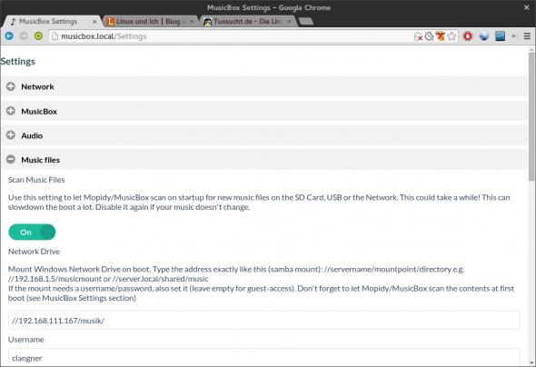 Die Pi MusicBox konfiguriert ihr über ein einfaches Webfrontend.