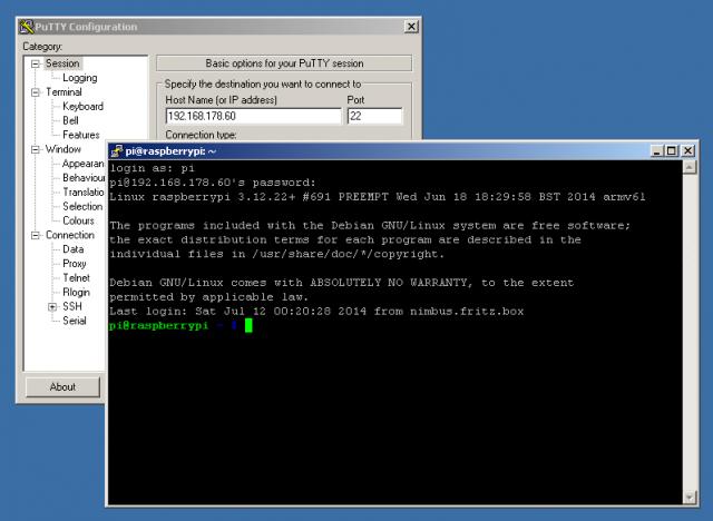 Mit PuTTY gehts bei aktiviertem SSH-Server über SSH auf den Raspberry Pi.