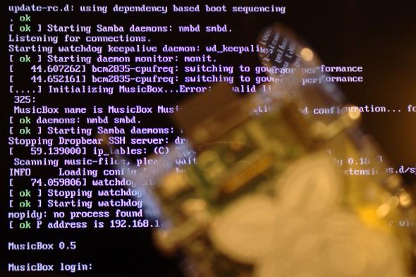Hängt am Monitor an der Pi MusicBox gibt das System seine IP-Adresse aus.