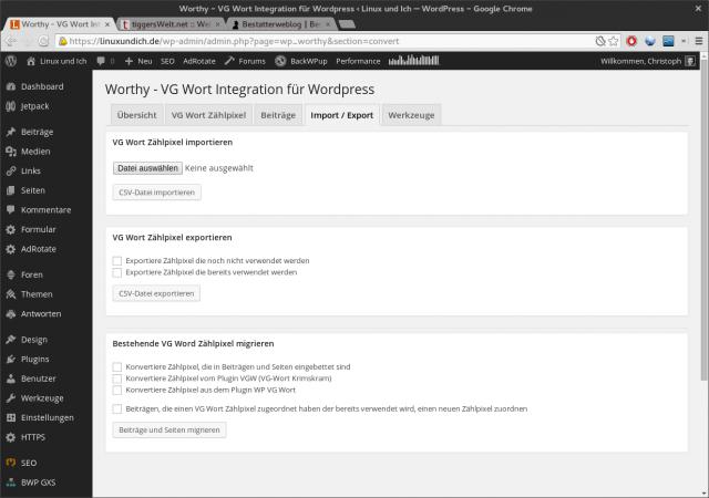 Worthy erlaubt es Zählpixel direkt im CSV-Format zu importieren.