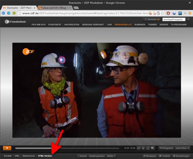 Zum Download eines ZDF-Mediathek-Videos müsst ihr die HTML-Version der Mediathek öffnen.