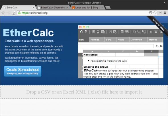 EtherCalc ist eine webbasierte Open-Source-Alternative zu Google Docs.