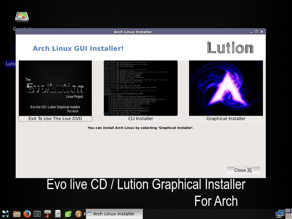 Evo/Lution ist eine Live-CD mit graphischem Installer für