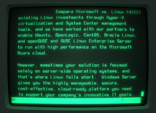 Microsoft meint, dass Linux als Server-System versagen würde.