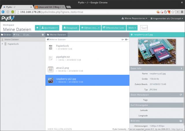 Das aus dem AjaXplorer hervorgegangen Pydio unter Ubuntu.