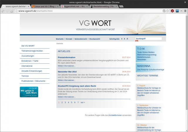 Die Homepage der Verwertungsgesellschaft Wort aka VG Wort.