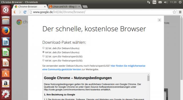 Chrome bekommt ihr als DEB-Paket direkt von Google.