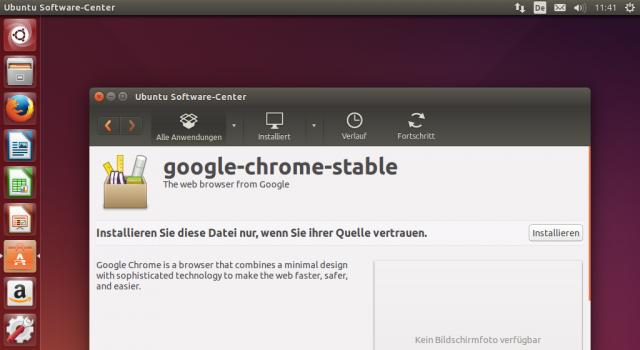 Das DEB-Paket von Chrome installiert ihr über das Software Center.