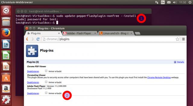 Nach der Installation des Flash-Plugins über das Terminal erscheint das Flash-Plugin in Chromium.