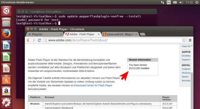 Die Adobe-Testseite für Flash meldet, dass die aktuelle Flash-Version in Chromium aktiv ist.