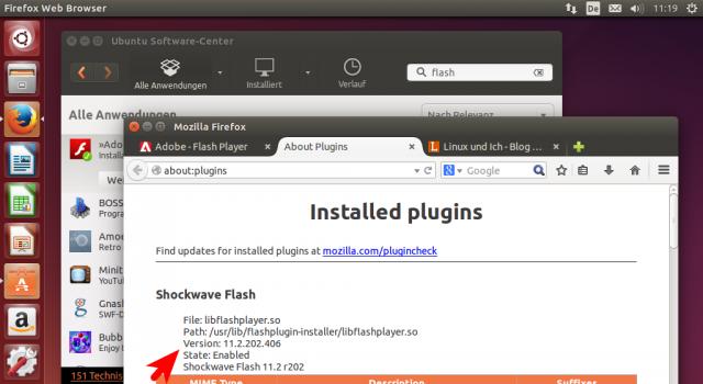 Zur Sicherheit kann man die Verfügbarkeit des Plugins noch über die About-Plugins-Seite testen.