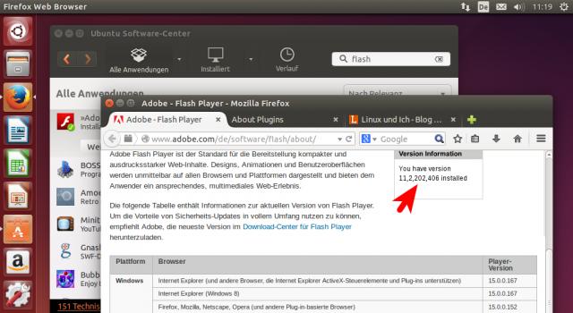Die Flash-Testseite meldet die aktuelle Flash-Version für FIrefox unter Linux.