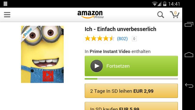 Die Amazon-App erlaubt nun auch das Abspielen von Amazon-Prime-Videos.