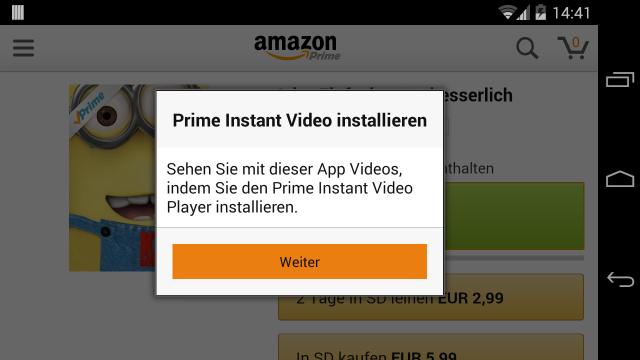 Zum Abspielen muss die Amazon-App Prime Instant Video installieren.