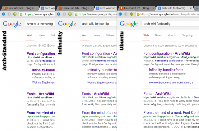 Das Fontrendering von Arch im Original und mit Patches von Infinality und Ubuntu im Vergleich.